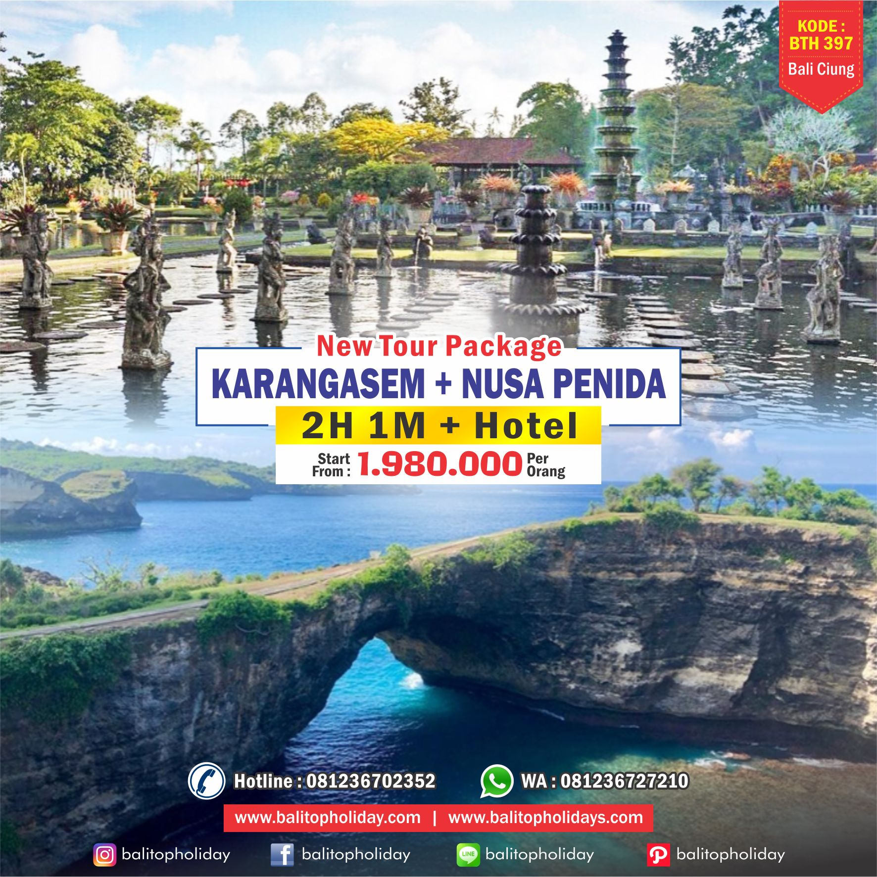 Paket Tour 2H 1M + Hotel (Karangasem + Nusa Penida) BTH 397